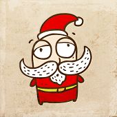 Santa Claus with Big White Mustache. Cute Christmas Hand Drawn Vector illustration, Vintage Paper Te