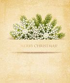 image of congratulation  - Christmas retro background with tree branches and snowflake - JPG
