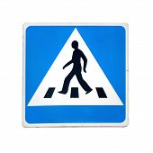 image of zebra crossing  - Blue square pedestrian crossing sign isolated on white - JPG