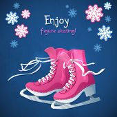 foto of skate  - Retro Christmas card with ice skates - JPG