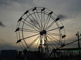 picture of ferris-wheel  - Ferris wheel at sunset along the beach in North Carolina - JPG