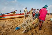 CHENNAI, INDIA - FEBRUARY 10, 2013: Indian fishermen dragging fishing net with their catch from sea