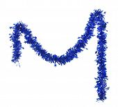 Christmas blue tinsel with stars.