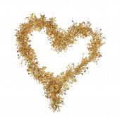 Heart from christmas golden tinsel.