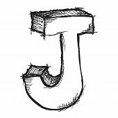 image of letter j  - Sketchy hand drawn letter J isolated on white - JPG