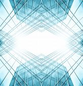 picture of kaleidoscope  - Panoramic and prospective wide angle view to steel light blue background of glass high rise building skyscraper commercial modern city of future - JPG
