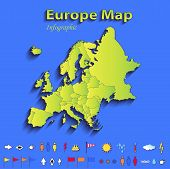Europe map infographic political map individual states blue green card paper 3D raster
