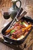 image of aubergines  - lamb knuckle roasted with aubergine - JPG