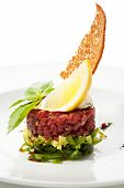 foto of tartar  - Tuna with Avocado Tartare with Lemon Slice - JPG