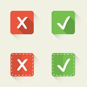 Right and wrong, yes and no vector check marks in flat style