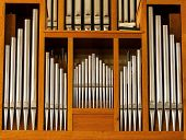 stock photo of hungarian  - Beautiful wood organ detail from hungarian church - JPG