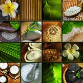 foto of frangipani  - Spa theme collage composed of different images bath salt frangipani flowers and skincare treatment - JPG