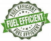 picture of fuel efficiency  - Fuel efficient green grunge retro vintage isolated seal - JPG