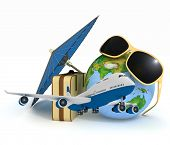 3d suitcase, airplane, globe and umbrella. Travel and vacation concept. Trendy signs - summer and jo