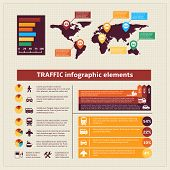 Transport traffic infographics elements