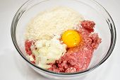 Ground Beef With Egg, Panko Crumbs, And Chopped Onion
