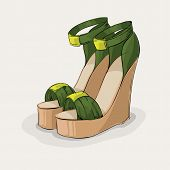 Luxury green sandals