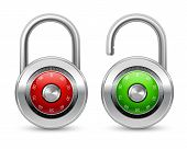 stock photo of shackles  - Open green and closed red realistic steel security lock icon with shackle protected by password combination isolated vector illustration - JPG