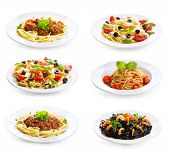 foto of spaghetti  - set with different plates of pasta and spaghetti on white background - JPG