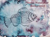 Vector Hand Drawn Fish On Watercolor Background