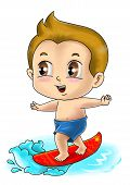 image of chibi  - Cute cartoon illustration of a surfer isolated on white - JPG