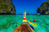 image of koh phi-phi  - Traditional longtail boat in Maya bay on Koh Phi Phi Leh Island Krabi Southern of Thailand - JPG
