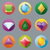 stock photo of gem  - Flat Design Gem Icon Collection - JPG