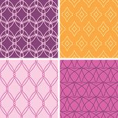 Four abstract wire shapes seamless patterns set