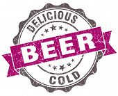 Beer Violet Grunge Retro Style Isolated Seal