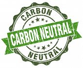 pic of carbon-dioxide  - Carbon neutral green grunge retro vintage isolated seal - JPG