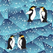 Blue Crystal Ice Background Texture With Penguin
