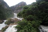 stock photo of ravana  - Peak and Ravana waterfall near Ella Sri Lanka - JPG