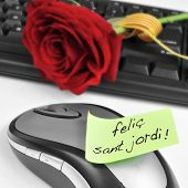 a red rose on a computer keyboard and the sentence felic Sant Jordi, happy Saint Georges Day, writte