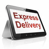 Finance concept: Express Delivery on tablet pc computer