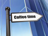 Time concept: sign Coffee Time on Building background