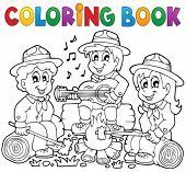 stock photo of boy scouts  - Coloring book scouts theme 1  - JPG