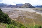 stock photo of bromo  - View of caldera with two volcanoes Bromo amd Botok in Indonesia - JPG