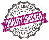 Quality Checked Violet Grunge Retro Vintage Isolated Seal