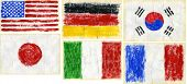 Hand painted acrylic flags.  Including flags of USA, Germany, S.Korea, Japan, Italy, France.
