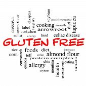 Gluten Free Word Cloud Concept In Red Caps