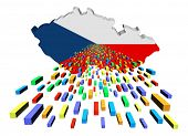 Czech Republic map flag with containers illustration