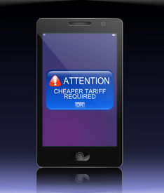 picture of tariff  - Illustration depicting a phone with an expensive mobile tariff concept - JPG