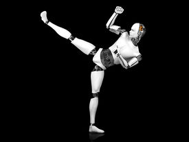 picture of karate-do  - A male robot doing a karate kick - JPG