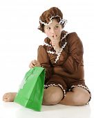 picture of shh  - A barefoot elementary gingerbread girl gesturing shh - JPG