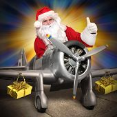 foto of propeller plane  - Santa Claus with his cargo plane - JPG