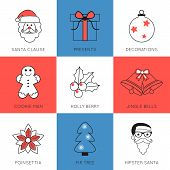stock photo of rudolf  - Set of modern style Christmas flat line icons compositions - JPG