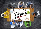 stock photo of ethics  - Multiethnic Group of People Discussing About Ethics - JPG