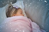 pic of blanket snow  - High angle view of a girl sleeping on sofa against snow - JPG
