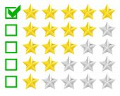 picture of benchmarking  - detailed illustration of a star rating system with checkbox at five stars - JPG