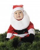 picture of santa baby  - An adorable baby in a Santa suit surrounded by green Christmas garland - JPG
